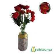 Bunga Plastik Aster Mini Double Red