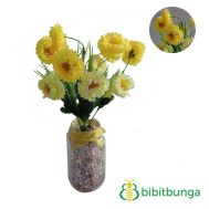 Bunga Plastik Aster Mini Double Yellow
