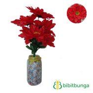 Bunga Plastik Dahlia Bangkok Gerigi Merah