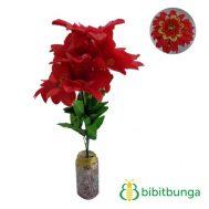 Bunga Plastik Dahlia Bangkok Metalik Merah