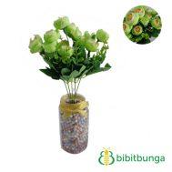 Bunga Plastik Mawar Telur Mini Hijau