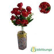 Bunga Plastik Mawar Telur Mini Merah