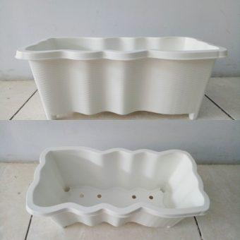Pot Persegi Panjang Gelombang – Putih
